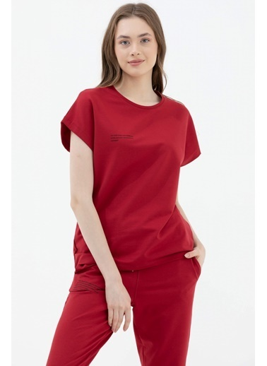 Sementa Oversize Kısa Kollu Tshirt - Bordo Bordo